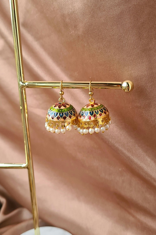 Red, Blue and Lime Green Jhumkas