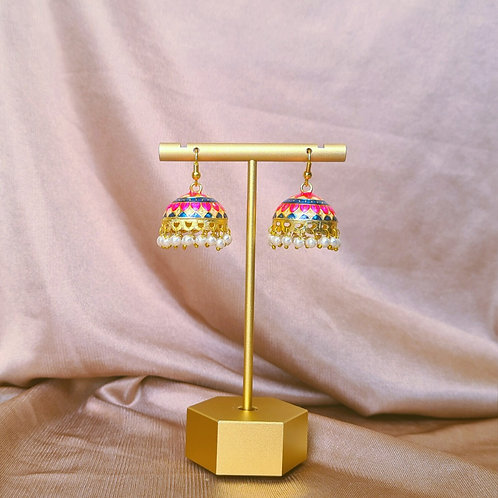 Blue, Pink and Ivory Jhumkas