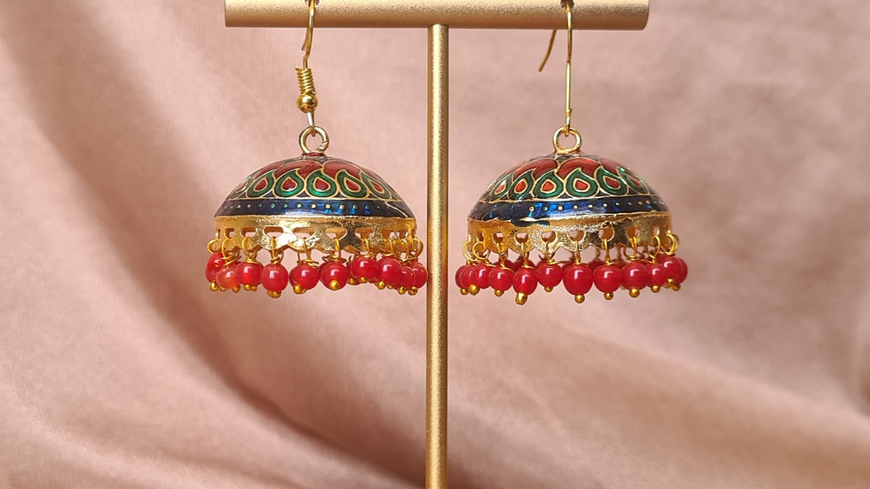Red, Green, Teal Jhumkas
