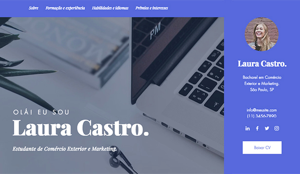 Currículo website templates – Currículo de Estudante