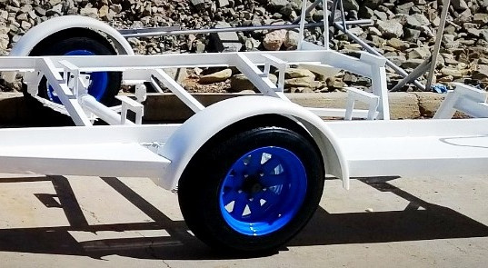 High Gloss White Trailer and Blue Rims