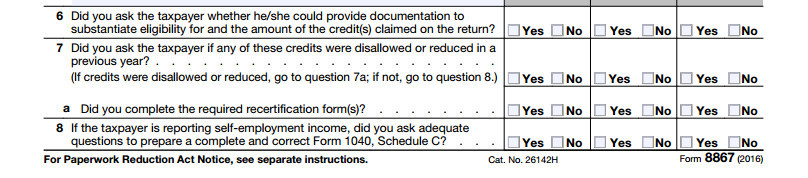 Form 8867 Paid Preparer's Due Diligence Checklist