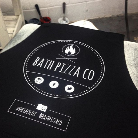 hand printed aprons for Bath pizza co
