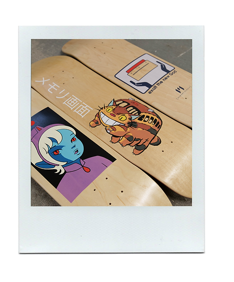 Skateboards hand printed using screen printing process.