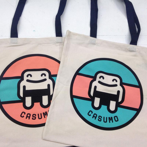 3 colour tote bags for Casumo in Malta