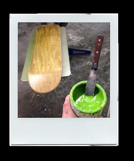 screen printing of a skateboard