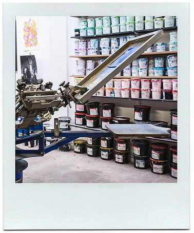 Memory Screen print Studio carousel along side an array of discharge, plastisol and other screen print inks