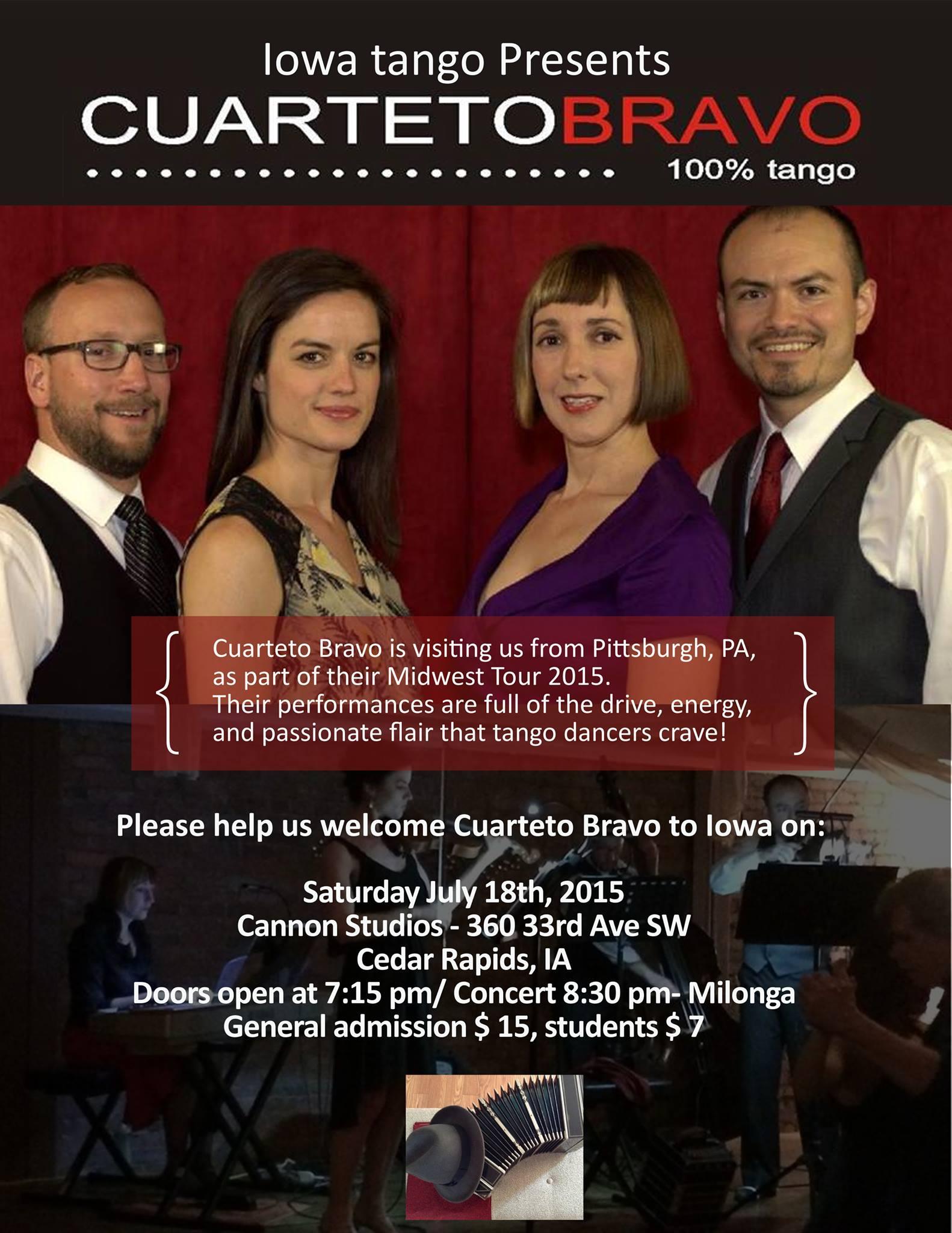 Flier Quarteto Bravo Tango Orquesta