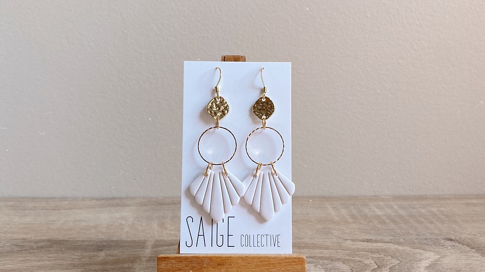 Diedre - White, gold plated accents
