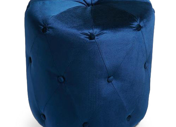 The Round Royal Blue Suede Ottoman