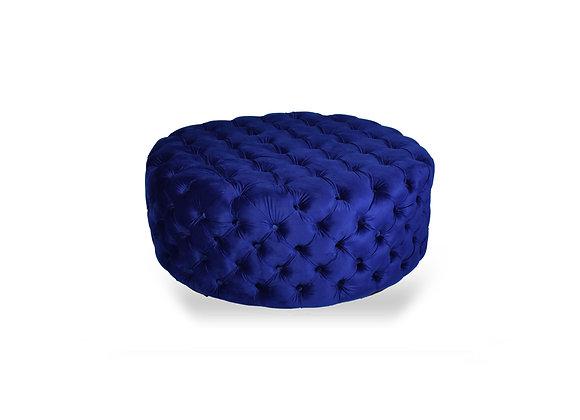 The Round Royal Blue Velvet Ottoman