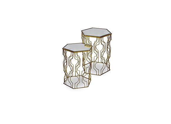 Gold-Diamond-Side Table Set