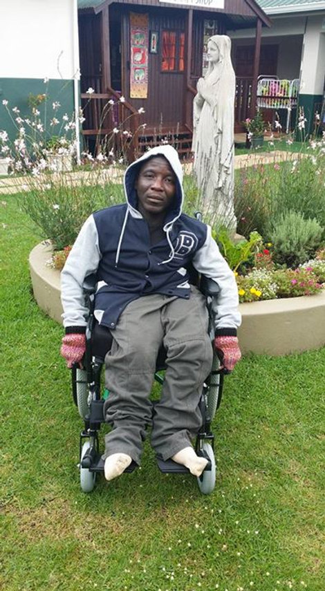 Thembinkosi Ndawonde, one of our fabric painter has just been donated a new wheelchair, we are so th