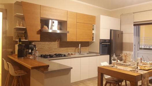 cucina moderna bianco e rovere nordic