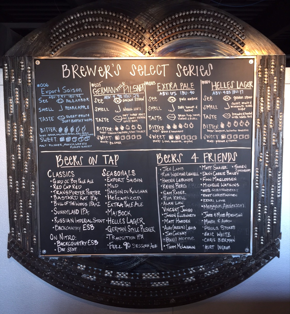 K2 Brewery Menu Board