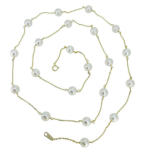 LONG AKOYA CULTURED PEARL STATIONED NECKLACE