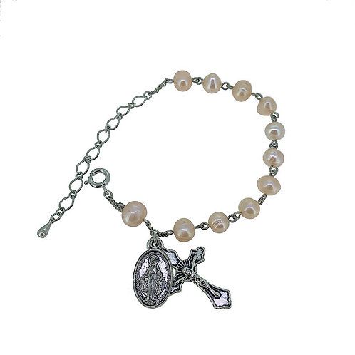 PINK FRESHWATER PEARL ROSARY BRACELET