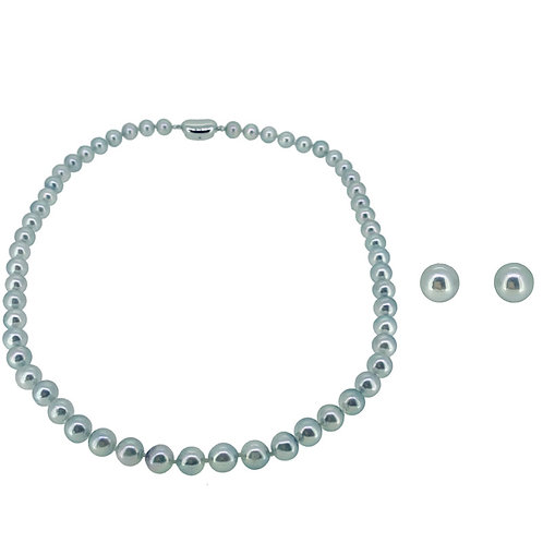CLASSIC SILVERBLUE AKOYA CULTURED PEARL STRAND NECKLACE (7.0-7.5MM) SET