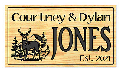 Deer Family Name Sign