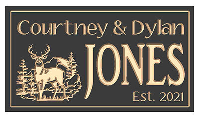 Reverse Deer Family Name Sign