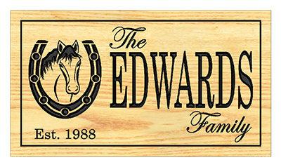 Horse/Horseshoe Family Name Sign