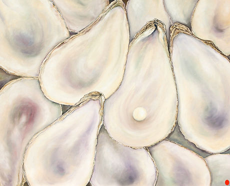 2014 Oyster Shells with Pearl 60 x 75 cm