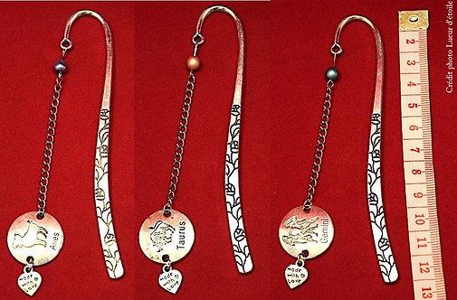 Marque page bijou - Zodiac I - en métal argenté - Création originale