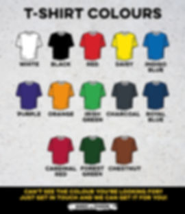 Custom T Shirt Colours