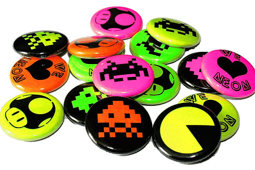 100 25mm Neon Badges