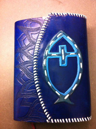 Blue Icthyus Bible Cover with flap