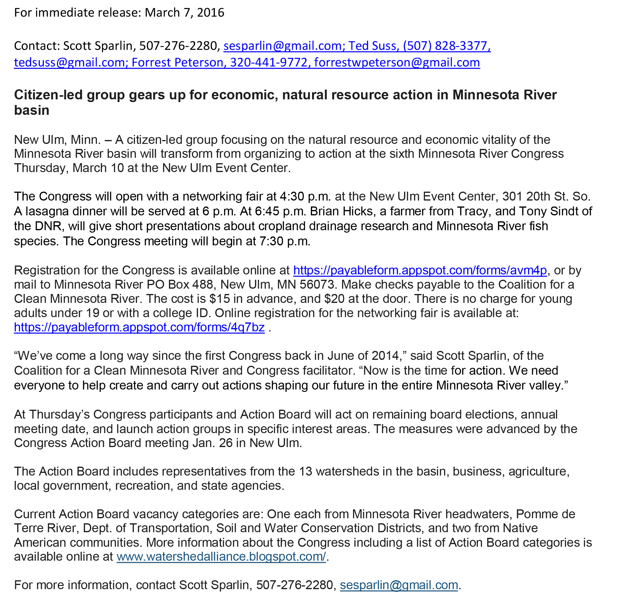 03072016News release - Minnesota River Congress March 10