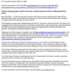 03072016News release - Minnesota River Congress March 10