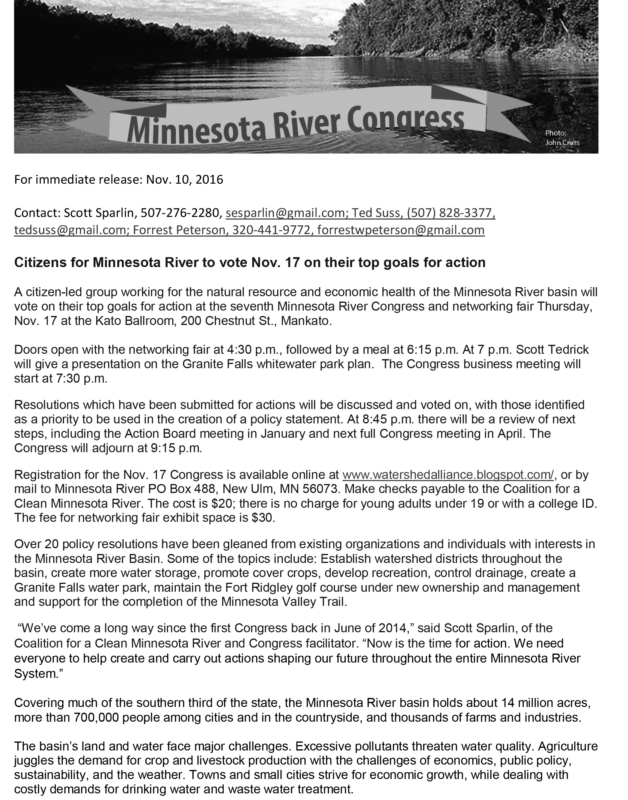 11102016News release - 7th Minnesota River Congress