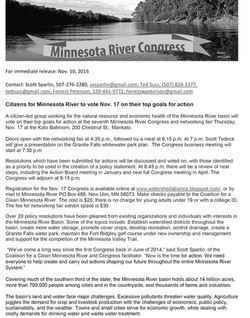 11102016News release - 7th Minnesota River Congress