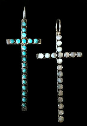Large Turquoise or Mother of Pearl Cross
