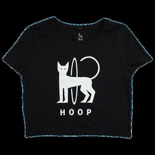HOOP CAT CROP TEE - BLACK