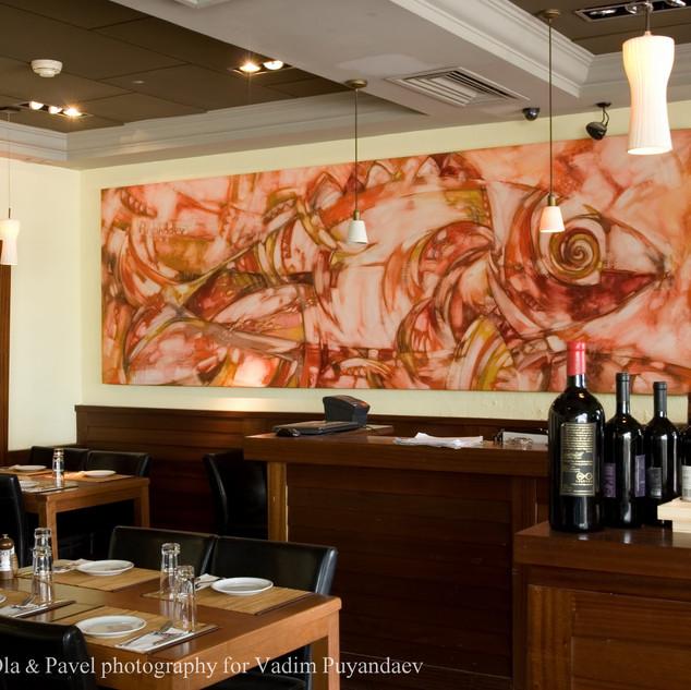 Artworks in Boston Restaurant in Eilat, Israel.
