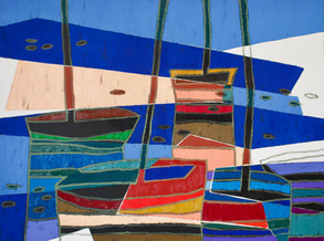"""Boats # 30 oil on canvas, 42"""" x 56"""" x 1.5"""", 2021"""