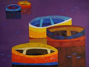 Boats in Purple Water SOLD