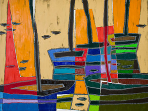 """Boats # 31 oil on canvas, 42"""" x 56"""" x 1.5"""", 2021"""