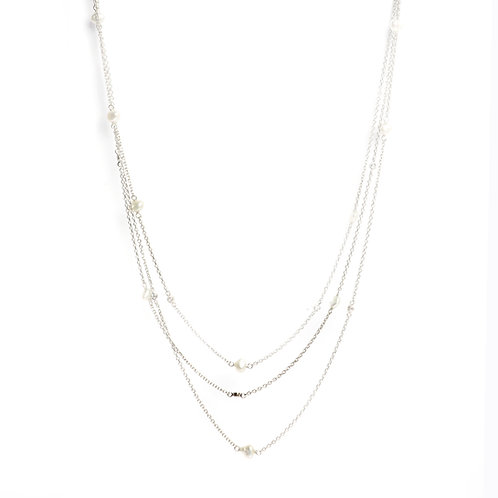 Keshi pearls and American Diamonds 3 chains necklace