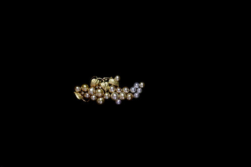 18K Leaf Design Brooch with 20 Mixed Color South Sea Keshi Pearls
