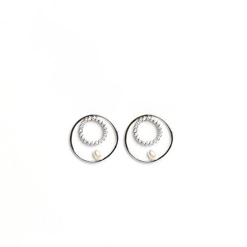 Twin circle Keshi Pearls studs