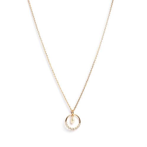 Graduated American Diamonds setting & keshi pearl centre pendant