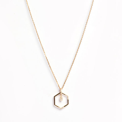 Honeycomb American Diamond & Keshi Pearl pendant