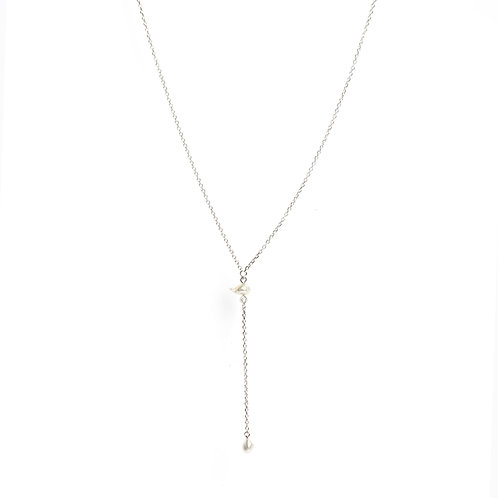 Keshi pearl and American Diamond drop chain necklace