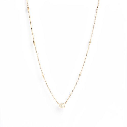 American Diamond & Keshi Pearl cushion set necklace