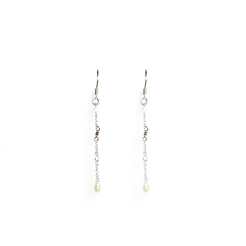 Classic Keshi Pearl and American Diamond single drop earrings