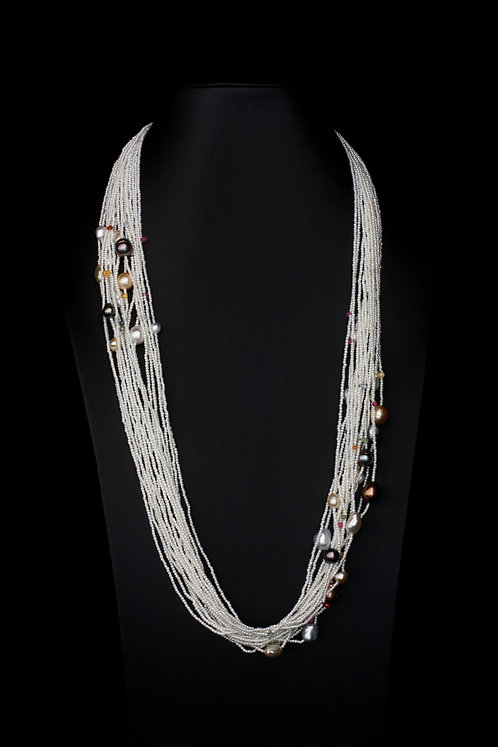Japanese Akoya 18 Strand Keshi Pearl Necklace with Sapphires & South Sea Pearls