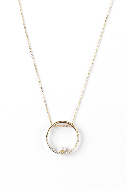 Half set American Diamond circle pendent with keshi pearl